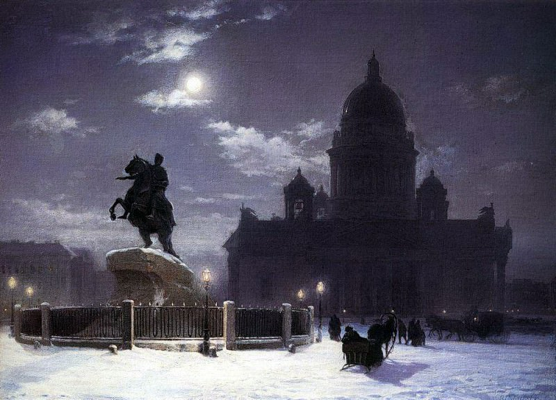 Type monument to Peter I on the Senate Square in St. Petersburg. 1870. Vasily Ivanovich Surikov