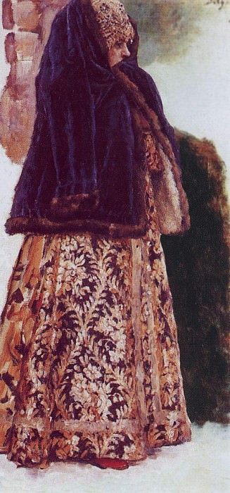 young ladies in purple sleeveless jackets. 1885-1886. Vasily Ivanovich Surikov