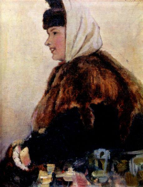Portrait of a young woman in a fur coat with sleeve. 1890. Vasily Ivanovich Surikov