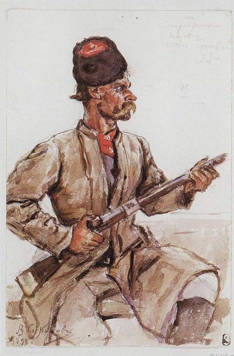 Казак с ружьем. 1893. Василий Иванович Суриков