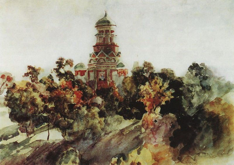 Church in the village Djakova. 1910. Vasily Ivanovich Surikov