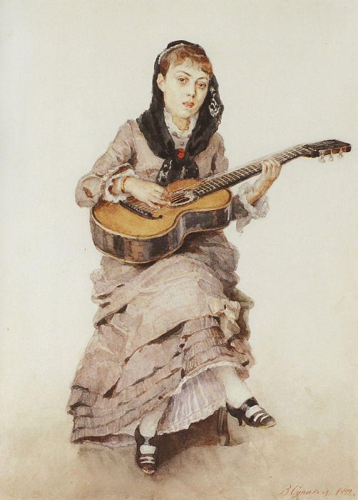 With guitar. Portrait of Princess S. Kropotkin. 1882. Vasily Ivanovich Surikov