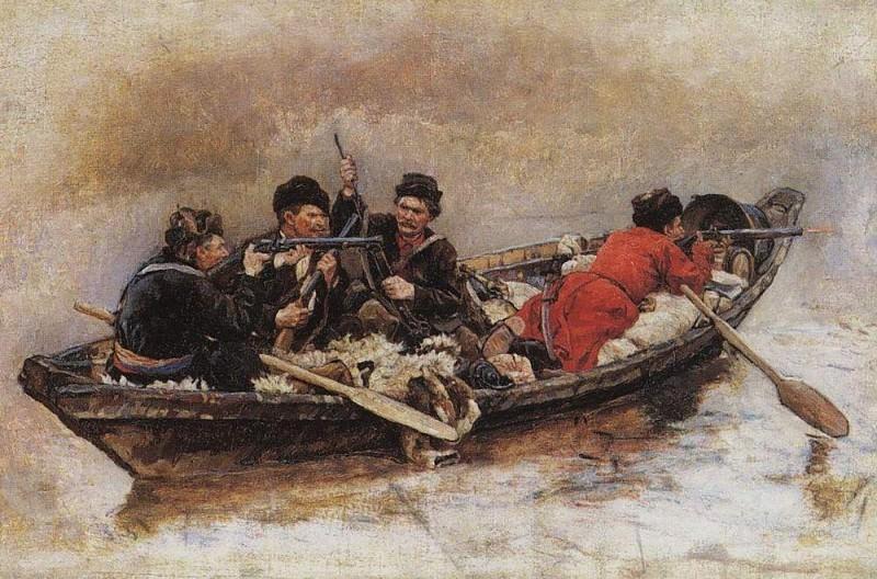 Cossacks in the boat. Vasily Ivanovich Surikov