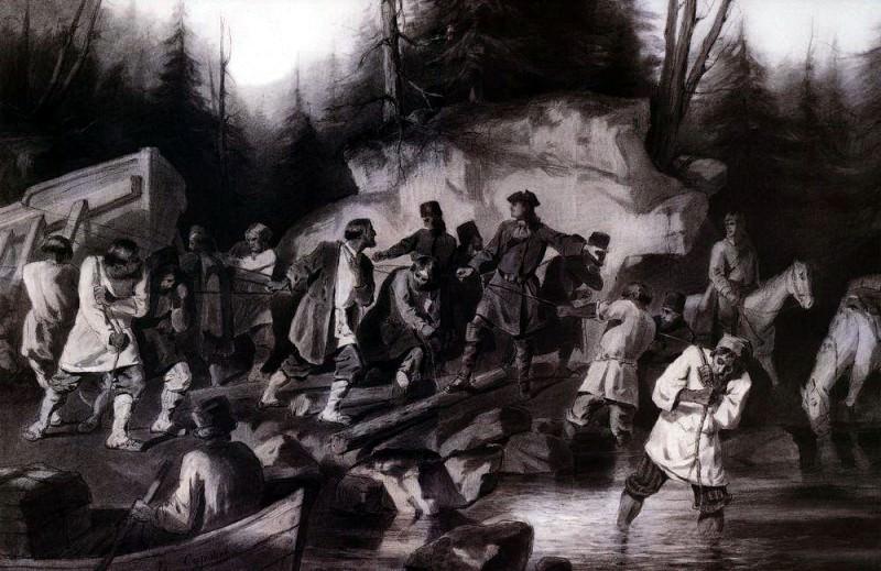 Петр I перетаскивает суда из Онежского залива в Онежское озеро в 1702 году. 1872. Василий Иванович Суриков