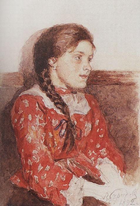 Girl in red sweater. 1892. Vasily Ivanovich Surikov