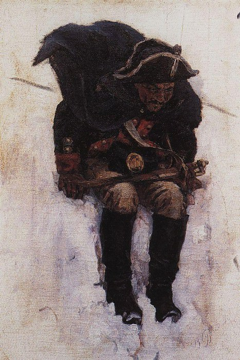 Soldier, coming down the slope of a snowy mountain. 1898. Vasily Ivanovich Surikov