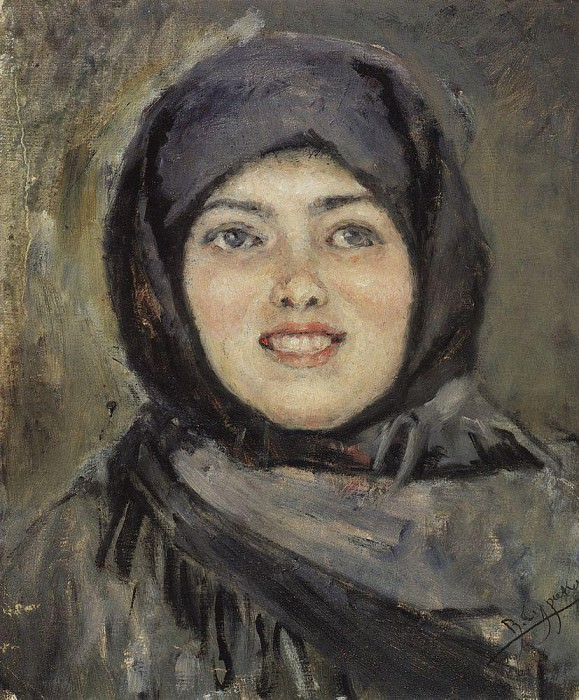 Head laughing girl. 1890. Vasily Ivanovich Surikov