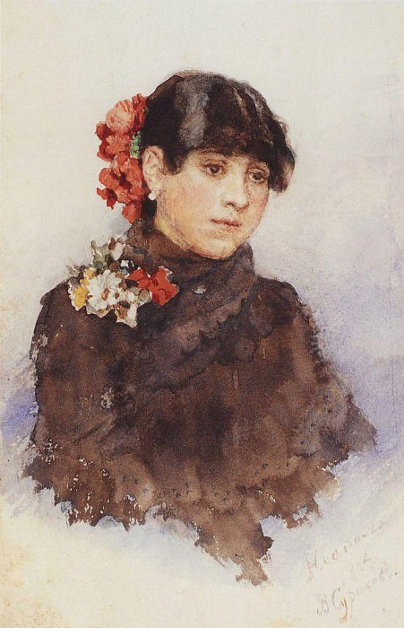 Neapolitan girl with flowers in their hair. 1883-1884. Vasily Ivanovich Surikov