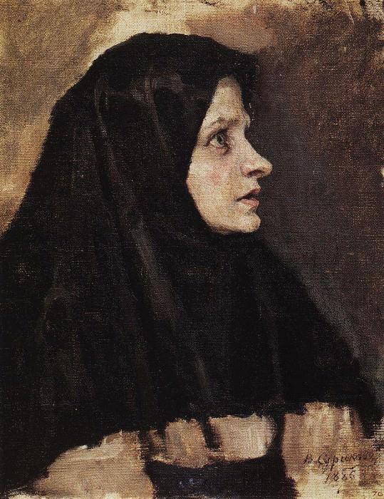 Голова женщины в черном платке. 1886. Василий Иванович Суриков
