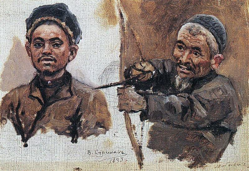 Head Tatars (old and young). 1893. Vasily Ivanovich Surikov