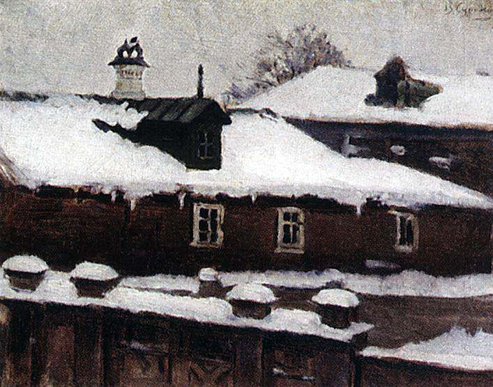 Roofs winter. 1880. Vasily Ivanovich Surikov