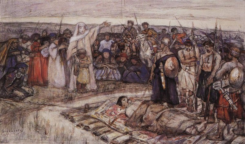 Princess Olga meets the body of Prince Igor. 1915. Vasily Ivanovich Surikov