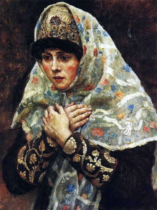 young ladies with folded hands. Vasily Ivanovich Surikov
