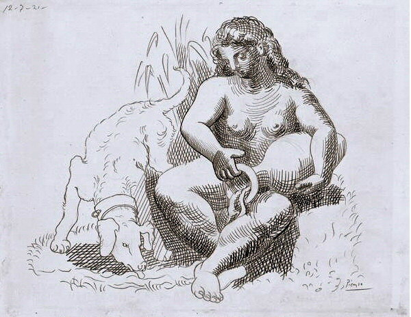 1921 Femme au chien1. Pablo Picasso (1881-1973) Period of creation: 1919-1930
