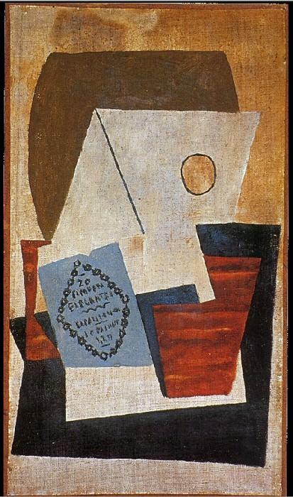 1921 Composition Е la boМte de cigares bleue. Pablo Picasso (1881-1973) Period of creation: 1919-1930 (Verre et paquet de tabac)