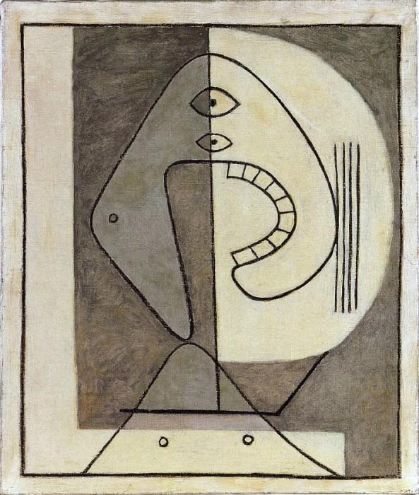 1928 Visage sur fond bicolore. Pablo Picasso (1881-1973) Period of creation: 1919-1930