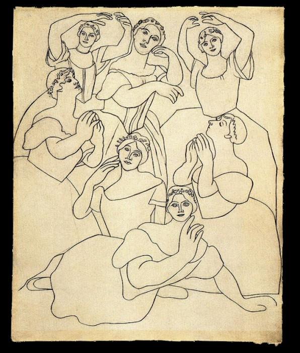 1919 Sept danseuses dont Olga Picasso au premier plan. Пабло Пикассо (1881-1973) Период: 1919-1930