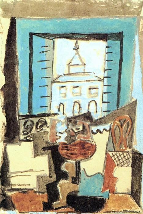 1919 Guitare et compotier sur un guВridon devant une fenИtre ouverte. Пабло Пикассо (1881-1973) Период: 1919-1930 (Nature morte devant une fenИtre)