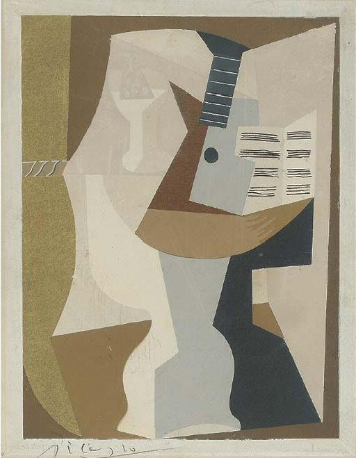 1920 GuВridon avec guitare et partition. Пабло Пикассо (1881-1973) Период: 1919-1930