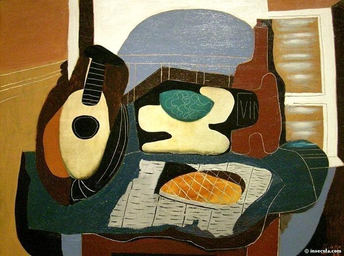 1924 Mandoline, panier de fruits, bouteille et patisserie. Pablo Picasso (1881-1973) Period of creation: 1919-1930