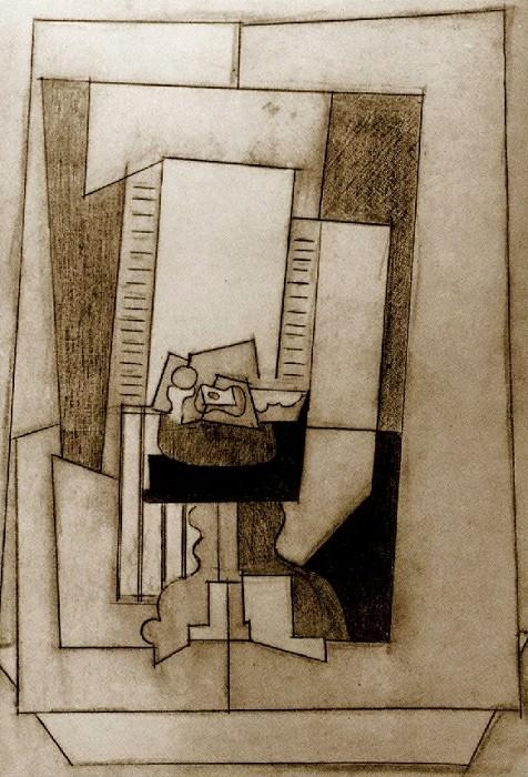 1919 Nature morte sur un guВridon devant une fenИtre ouverte1. Пабло Пикассо (1881-1973) Период: 1919-1930