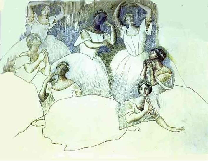 1919 Sept danseuses. Пабло Пикассо (1881-1973) Период: 1919-1930
