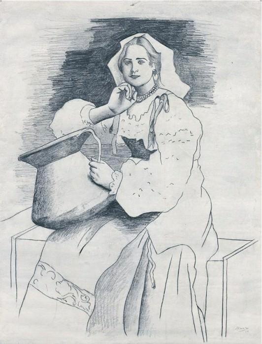 1919 Litalienne Е la cruche (Italienne dа prКs une photographie). Pablo Picasso (1881-1973) Period of creation: 1919-1930