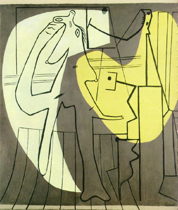 1927 Le peintre et son modКle. Pablo Picasso (1881-1973) Period of creation: 1919-1930