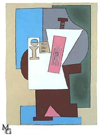 1920 Guitare et partition sur guВridon. Pablo Picasso (1881-1973) Period of creation: 1919-1930