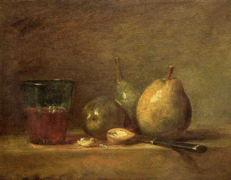 ШАРДЕН ЖАН БАТИСТ СИМЕОН - Груши, грецкие орехи и стакан с вином.. Louvre (Paris)