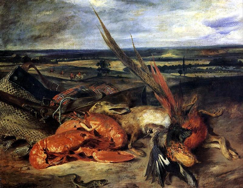 ДЕЛАКРУА ЭЖЕН - Натюрморт с омаром и трофеями охоты и рыбной ловли.. Louvre (Paris)