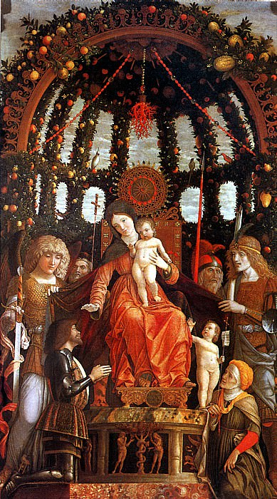 МАНТЕНЬЯ - Мадонна с младенцем в окружении шести святых, с донатором Джанфранческо II Гонзага, известная как Мадонна делла Витториа, 1495.. Лувр (Париж)