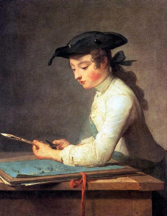 ШАРДЕН ЖАН БАТИСТ СИМЕОН - Юный рисовальщик, 1737.. Лувр (Париж)