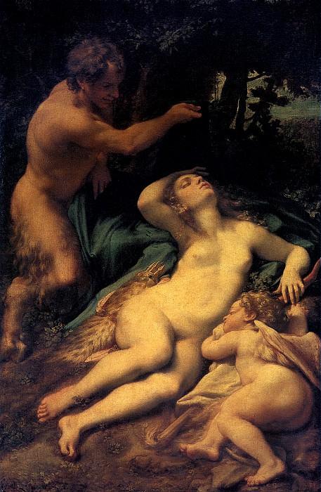 АЛЛЕГРИ АНТОНИО, ПРОЗВАННЫЙ КОРРЕДЖО - Венера, Сатир и Амур.. Louvre (Paris)
