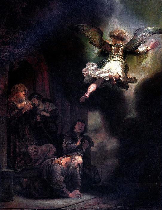 РЕМБРАНДТ - Ангел, покидающий семейство Товия, 1637.. Louvre (Paris)