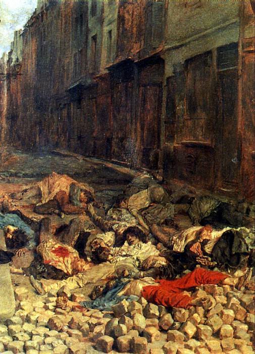 МЕСОНЬЕ ЭРНЕСТ - Баррикада, улица Мортеллери, июнь 1848 г., или Память о гражданской войне.. Louvre (Paris)