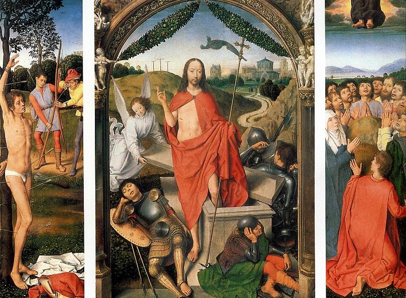 МЕМЛИНГ - Воскресение с Мученичеством св. Себастьяна и Вознесением. Триптих.. Louvre (Paris)