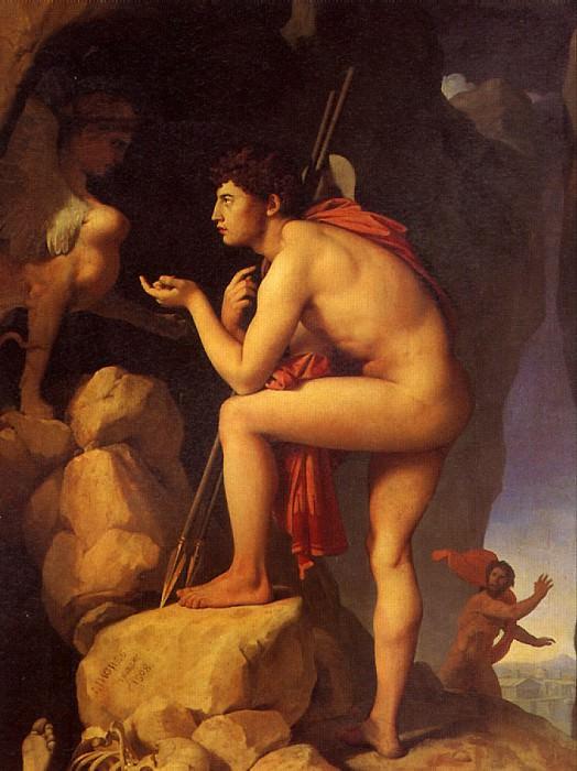 ЭНГР ЖАН ОГЮСТ ДОМИНИК - Эдип, разгадывающий загадку сфинкса, 1808.. Лувр (Париж)