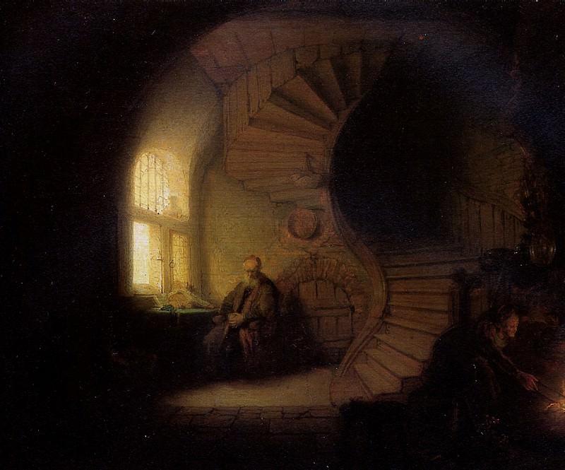 РЕМБРАНДТ - Размышляющий философ, 1632.. Лувр (Париж)