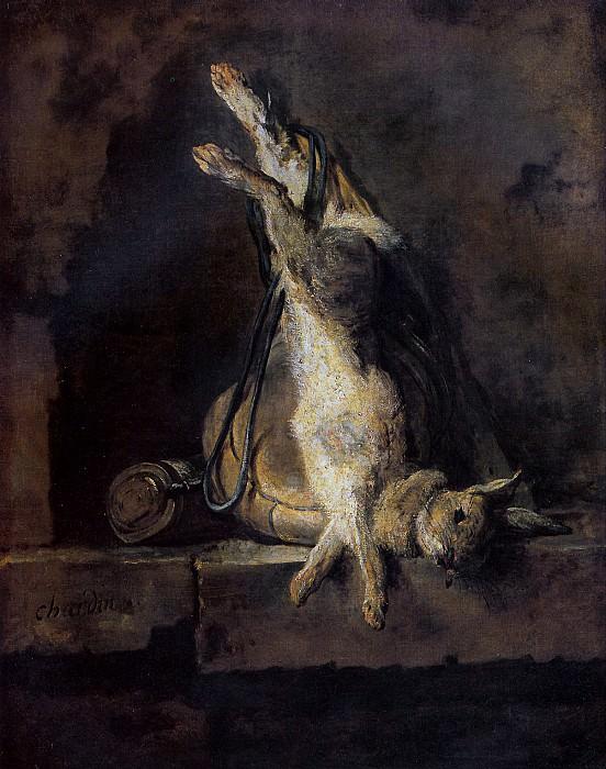 ШАРДЕН ЖАН БАТИСТ СИМЕОН - Мертвый кролик и охотничьи принадлежности.. Лувр (Париж)