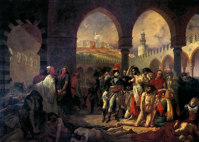ГРО АНТУАН ЖАН - Бонапарт посещает чумной госпиталь в Яффе 11 марта 1799 г.. Louvre (Paris)