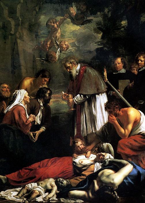 ВАН ОСТ МЛАДШИЙ, ЯКОБ - Св. Макарий Гентский, причащающий во время чумы, 1673.. Louvre (Paris)