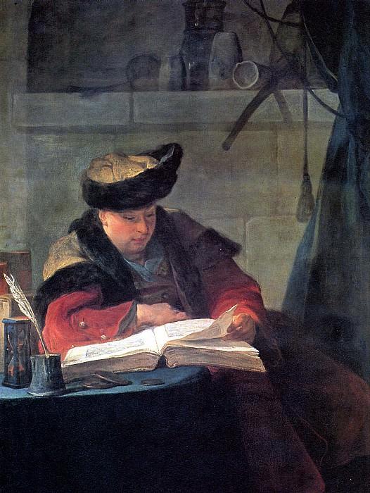 ШАРДЕН ЖАН БАТИСТ СИМЕОН - Стеклодув (Портрет художника Жозефа Аве, известный как Химик в своей лаборатории), 1734.. Louvre (Paris)