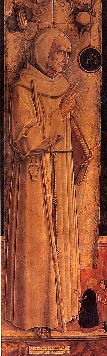 КРИВЕЛЛИ КАРЛО - Св. Иаков из Марке с двумя коленопреклоненными донаторами.. Лувр (Париж)