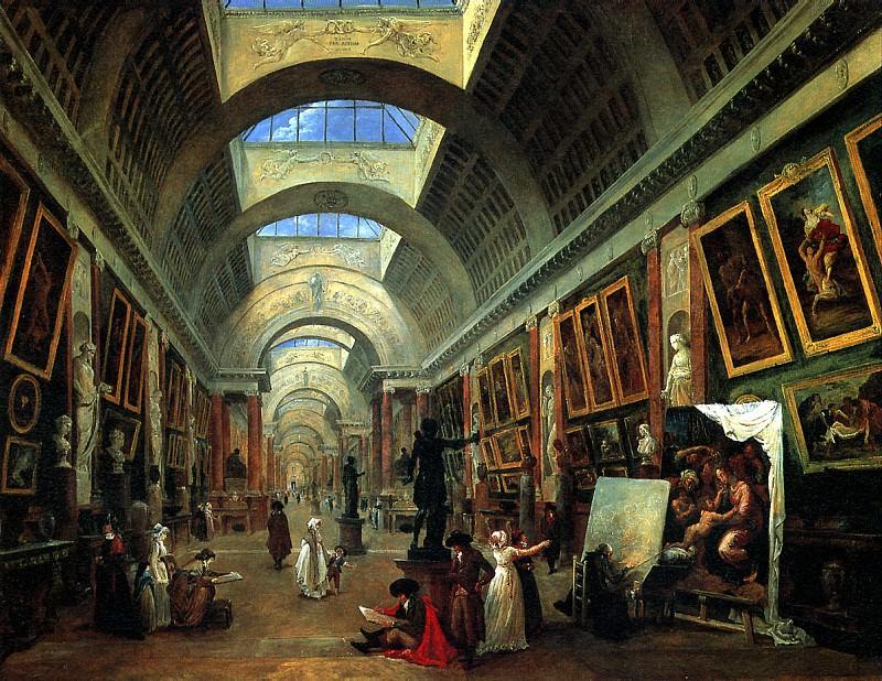 РОБЕР ЮБЕР - Проект оформления Большой галереи Лувра, 1796.. Louvre (Paris)
