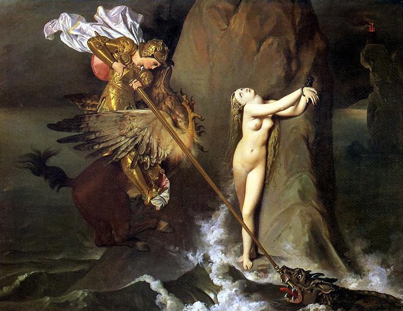 ЭНГР ЖАН ОГЮСТ ДОМИНИК - Роже, освобождающий Анжелику, 1819.. Louvre (Paris)