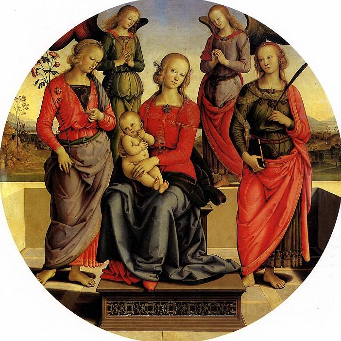 ПЕРУДЖИНО - Мадонна с младенцем в окружении ангелов, св. Розы и св. Екатерины.. Лувр (Париж)