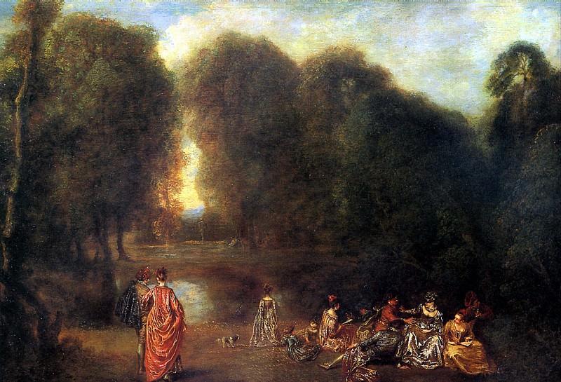 ВАТТО - Общество в парке.. Louvre (Paris)