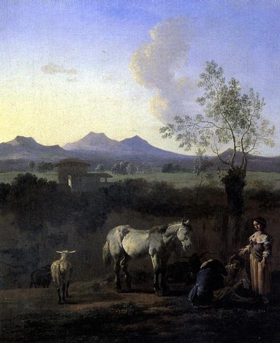 Дюжарден, Карел - Пастухи, лошадь, коровы и овца на лугу с деревьями.. Louvre (Paris)