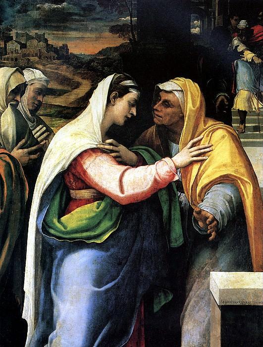 ДЕЛЬ ПЬОМБО СЕБАСТЬЯНО - Встреча Марии и Елисаветы, 1519 (датирована 1521).. Лувр (Париж)